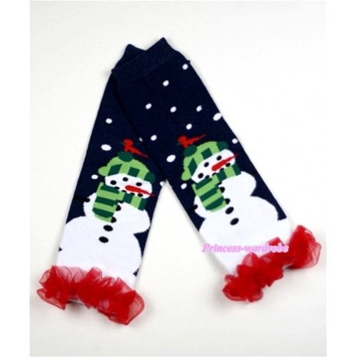 Newborn Baby Black Snowman Leg Warmers Leggings with Red Ruffles LG176