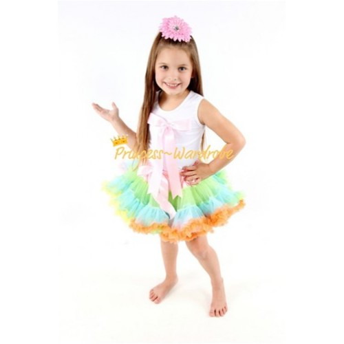 White Tank Top & Cute Pink Big Bow with Light-Colored Rainbow Pettiskirt TM115