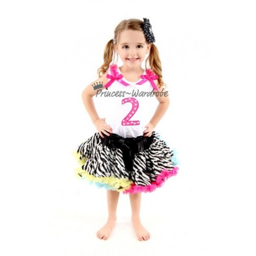 White Tank Top & 2nd Birthday Hot Pink White Polka Dots Print number & Hot Pink Ruffles & Hot Pink Bow with Zebra Rainbow Pettiskirt MM79