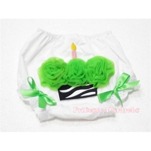 White Bloomer & Dark Green Zebra Cupcake BD05