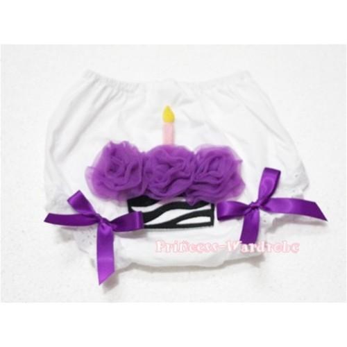 White Bloomer & Purple Zebra Cupcake BD08