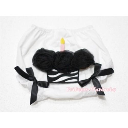 White Bloomer & Black Zebra Cupcake BD10