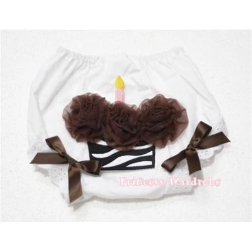White Bloomer & Brown Zebra Cupcake BD13