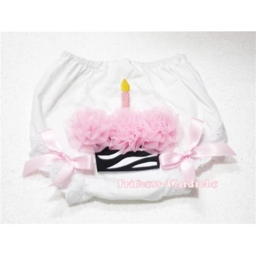White Bloomer & Light Pink Zebra Cupcake BD15