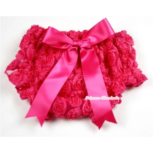 HoT Pink Romantic Rose Panties Bloomers With Hot Pink Bow BR41