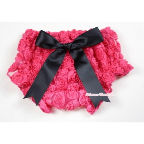 HoT Pink Romantic Rose Panties Bloomers With Black Bow BR44