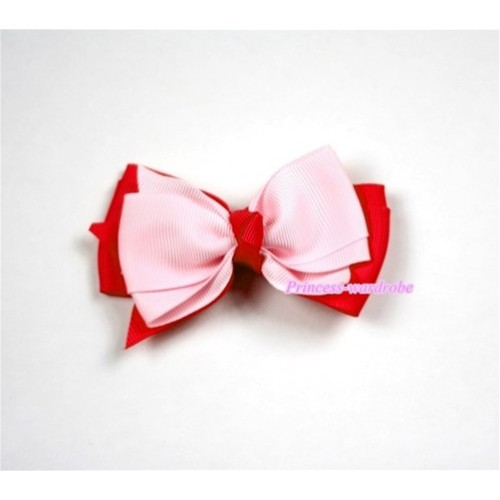 Light Hot Pink Ribbon Bow Hair Clip H449
