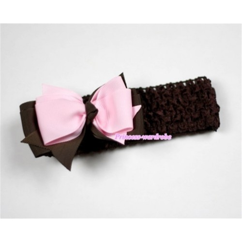 Brown Headband with Brown & Light Pink Ribbon Hair Bow Clip H452