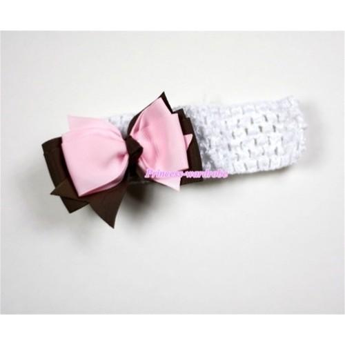 Black Headband with Brown & Light Pink Ribbon Hair Bow Clip H455