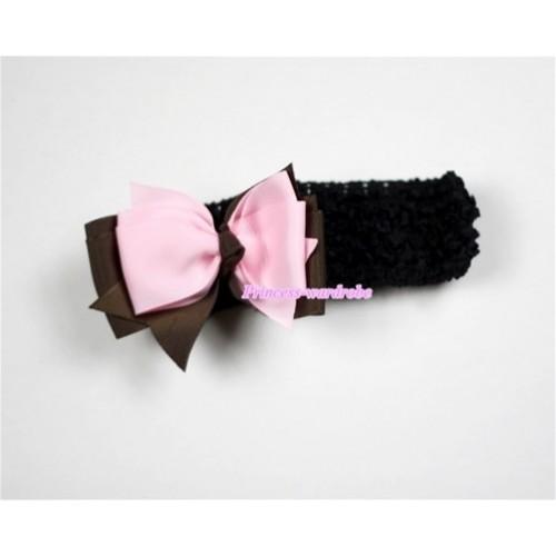 Black Headband with Brown & Light Pink Ribbon Hair Bow Clip H454