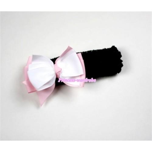 Black Headband with White & Light Pink Ribbon Hair Bow Clip H458