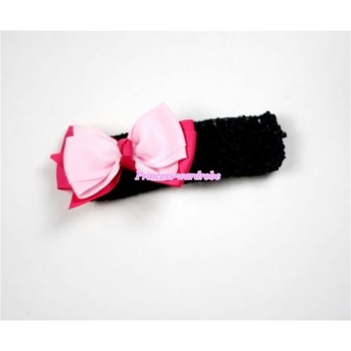 Black Headband with Hot Pink & Light Pink Ribbon Hair Bow Clip H464