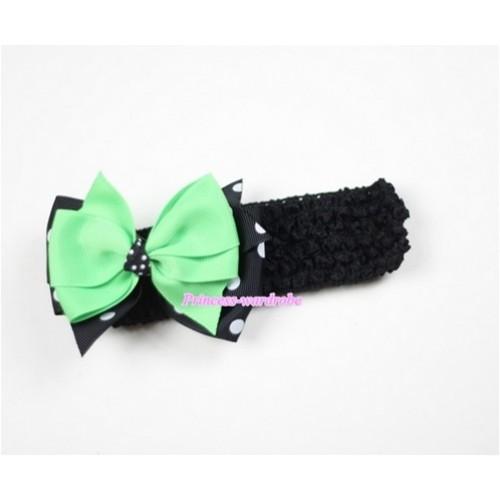 Black Headband with Black White Polka Dots & Green Ribbon Hair Bow Clip H475