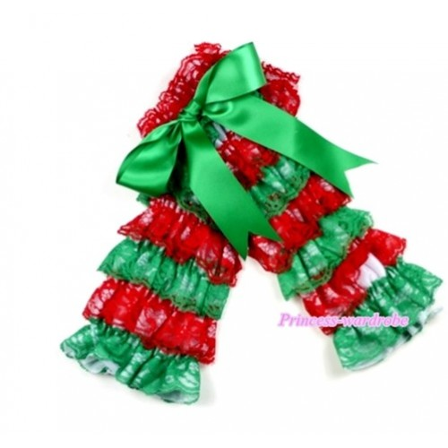 Baby Green Red Lace Leg Warmers Leggings with Kelly Green Ribbon LG193