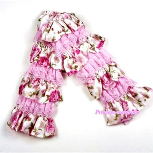 Baby Light Pink & Rosettes Fusion Print Lace Leg Warmers Leggings LG203