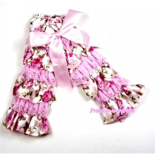 Baby Light Pink & Rosettes Fusion Print Lace Leg Warmers Leggings with Light Pink Ribbon   LG204