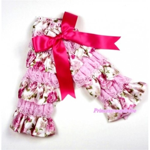 Baby Light Pink & Rosettes Fusion Print Lace Leg Warmers Leggings with Hot Pink Ribbon  LG206