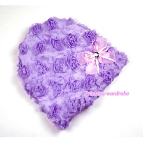 Lavender Rosettles Cap with Light Pink Bow Ribbon H286