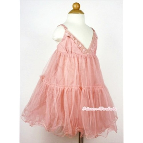 Pale Apricot Chiffon Elegant Evening Wedding Party Bridesmaid Dress PD023