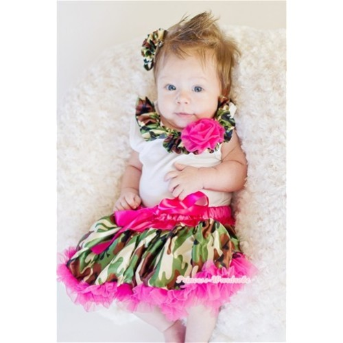 Camouflage Print Satin Lacing One Rose White Tank Top with Hot Pink Camouflage Pettiskirt MG204