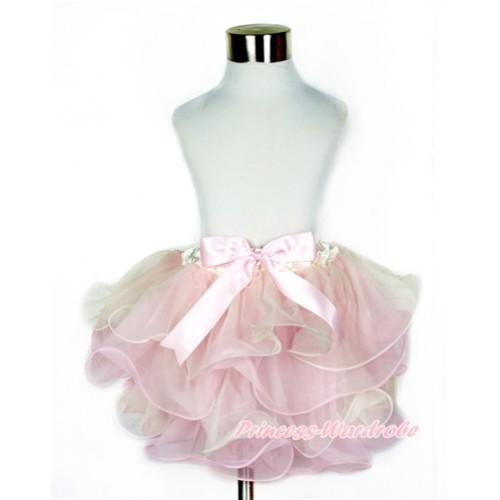 Cream White Light Pink Flower Petal Full Pettiskirt With Light Pink Bow B231