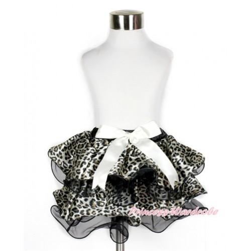 Black Leopard Flower Petal Full Pettiskirt With Cream White Bow B240