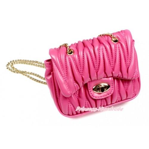 Gold Chain Hot Pink Luxury Quilt Shoulder Bag CB136