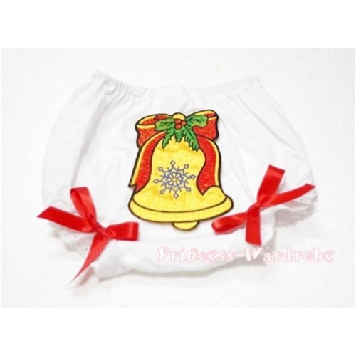 White Bloomers & Christmas Bell Print BC100
