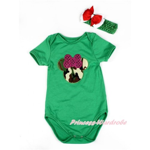 Kelly Green Baby Jumpsuit with Sparkle Hot Pink Camouflage Minnie Print TH413