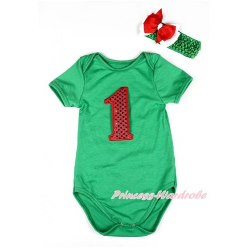 Xmas Kelly Green Baby Jumpsuit with 1st Sparkle Red Birthday Number Print TH418