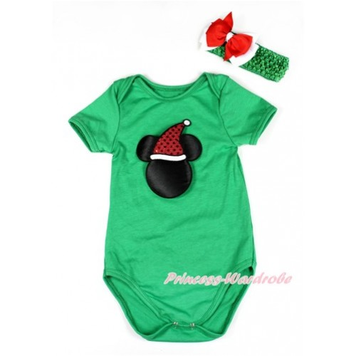 Xmas Kelly Green Baby Jumpsuit with Christmas Minnie Print TH419