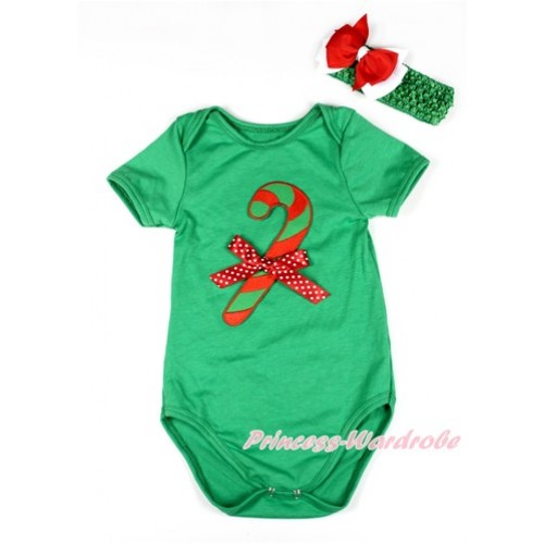 Xmas Kelly Green Baby Jumpsuit with Christmas Stick Print & Minnie Dots Bow TH421