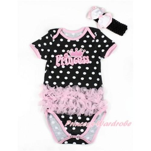 Black White Polka Dots Baby Jumpsuit with Triple Light Pink Ruffles & Princess Print TH436