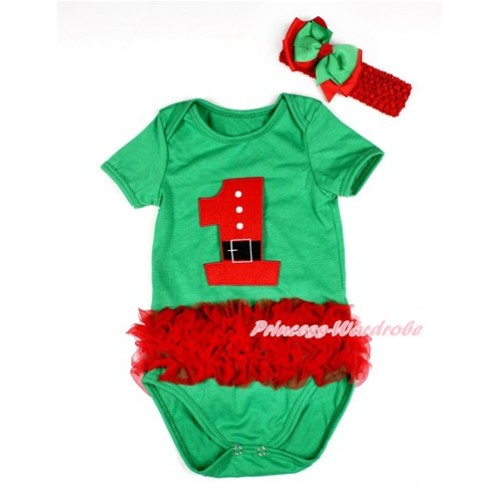 Xmas Kelly Green Baby Jumpsuit with Triple Red Ruffles & 1st Santa Claus Birthday Number Print TH426