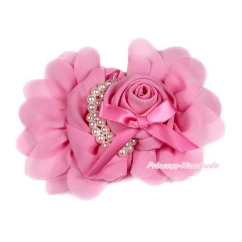 Light Pink Petal Crystal Pearl Bow Rosettes Hair Clip H762