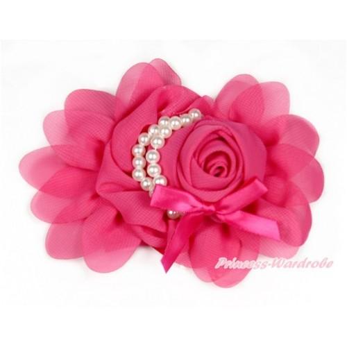 Hot Pink Petal Crystal Pearl Bow Rosettes Hair Clip H764