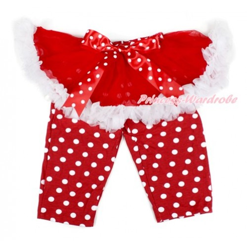 Minnie Dots Bow Red White Pettiskirt Matching Red White Dots Leggings Culottes High Elastic Pant Twinset SL001