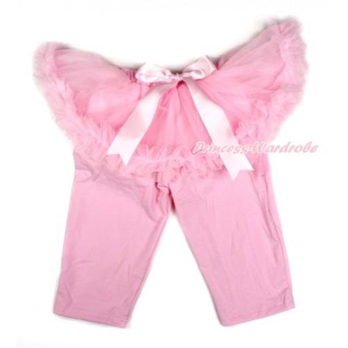 Light Pink Bow Light Pink Pettiskirt Matching Light Pink Leggings Culottes High Elastic Pant Twinset SL002