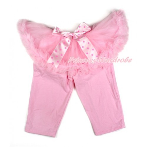 Light Hot Pink Dots Bow Light Pink Pettiskirt Matching Light Pink Leggings Culottes High Elastic Pant Twinset SL003