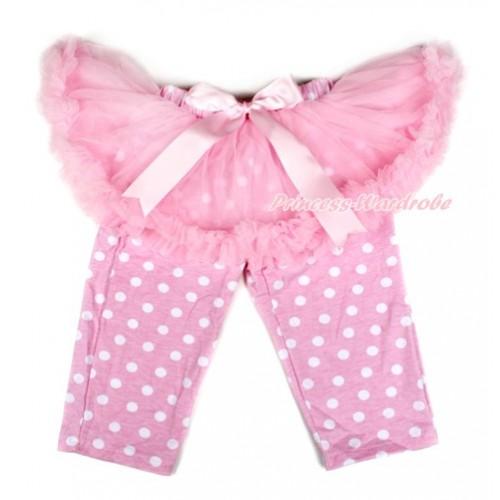 Light Pink Bow Light Pink Pettiskirt Matching Light Pink White Dots Leggings Culottes High Elastic Pant Twinset SL005