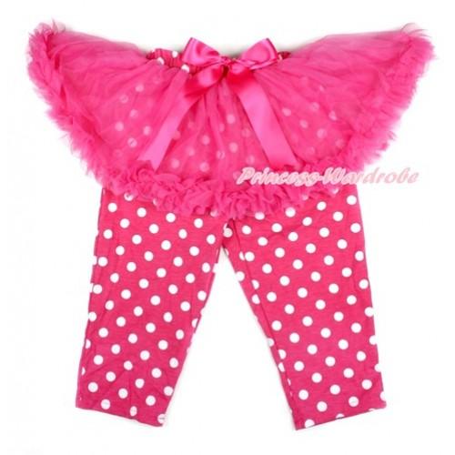 Hot Pink Bow Hot Pink Pettiskirt Matching Hot Pink White Dots Leggings Culottes High Elastic Pant Twinset SL006
