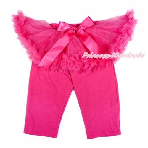 Hot Pink Bow Hot Pink Pettiskirt Matching Hot Pink Leggings Culottes High Elastic Pant Twinset SL007