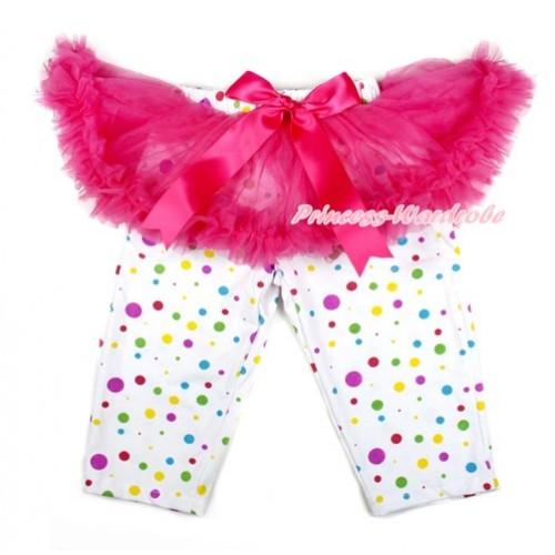 Hot Pink Bow Hot Pink Pettiskirt Matching White Rainbow Polka Dots Leggings Culottes High Elastic Pant Twinset SL008