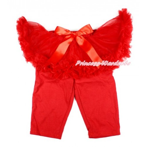Red Bow Red Pettiskirt Matching Red Leggings Culottes High Elastic Pant Twinset SL011