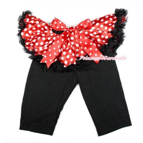 Minnie Dots Bow Minnie Dots Pettiskirt Matching Black Leggings Culottes High Elastic Pant Twinset SL013