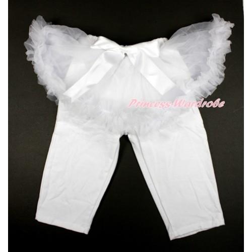 White Bow White Pettiskirt Matching White Leggings Culottes High Elastic Pant Twinset SL016