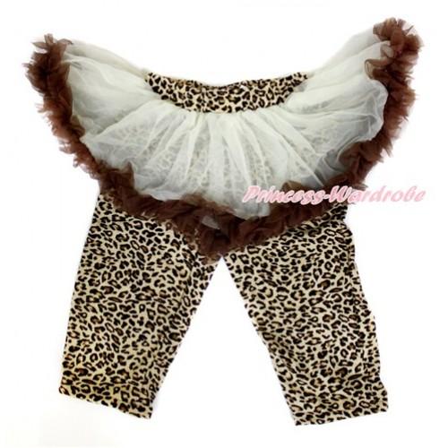 Cream White Brown Pettiskirt Matching Leopard Leggings Culottes High Elastic Pant Twinset SL017