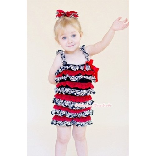 Damask Red Layer Chiffon Romper with Red Bow & Straps LR118