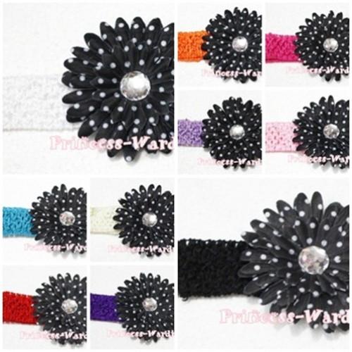 Black White Polka Dot Crystal Daisy Hair Clip with Match Headband F21
