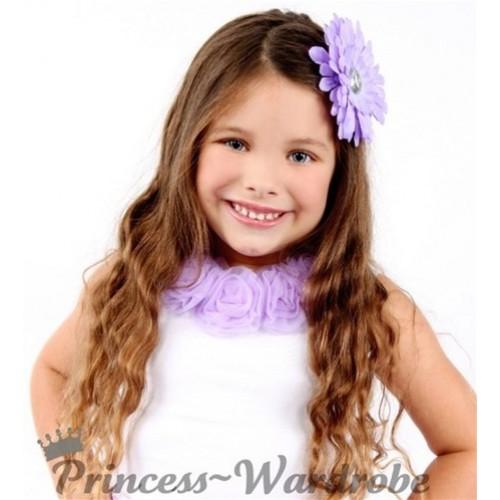 Purple Crystal Daisy Hair Pin h42